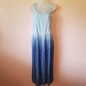 Raya Sun Blue Boho Dip Dye Embroidered Midi Dress